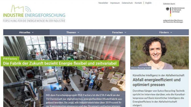 Startseite des Fachportals Industrie-Energieforschung
