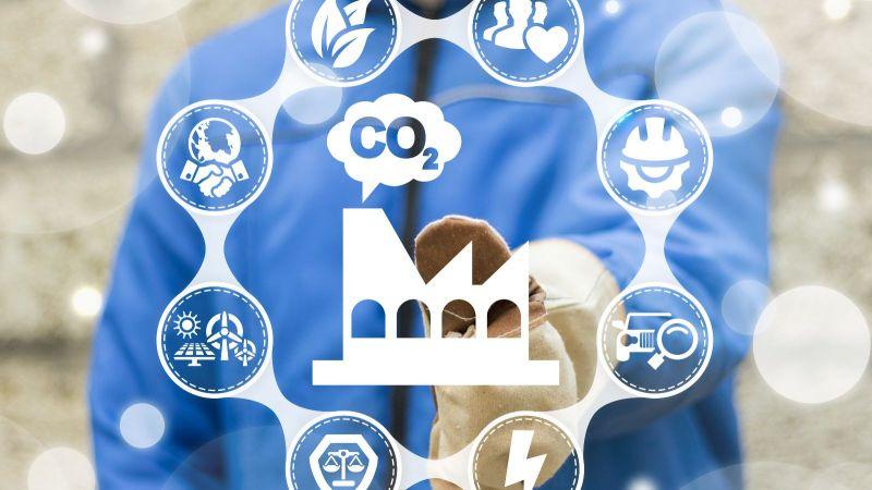 Symbol Fabrik CO2-Ausstoß