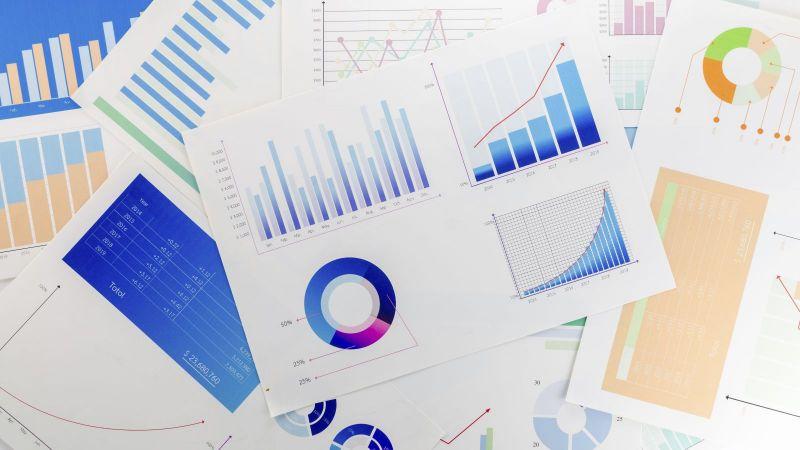 bunte Balkendiagramme, Kuchendiagramme und Statistiken