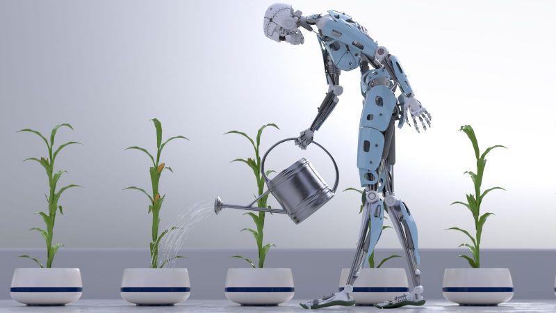 Roboter gießt Pflanzen