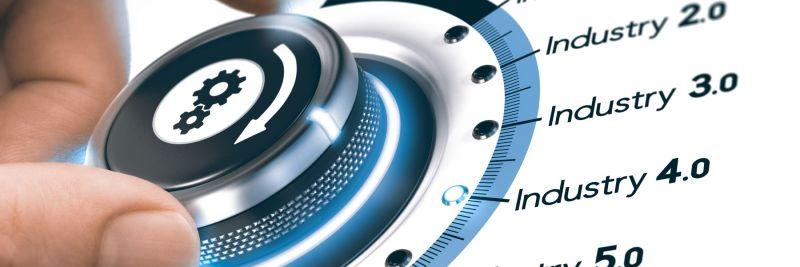 Symbolbild Forschungspolitik: Drehknopf von Industrie 1.0, 2.0, 3.0, 4.0 bis 5.0