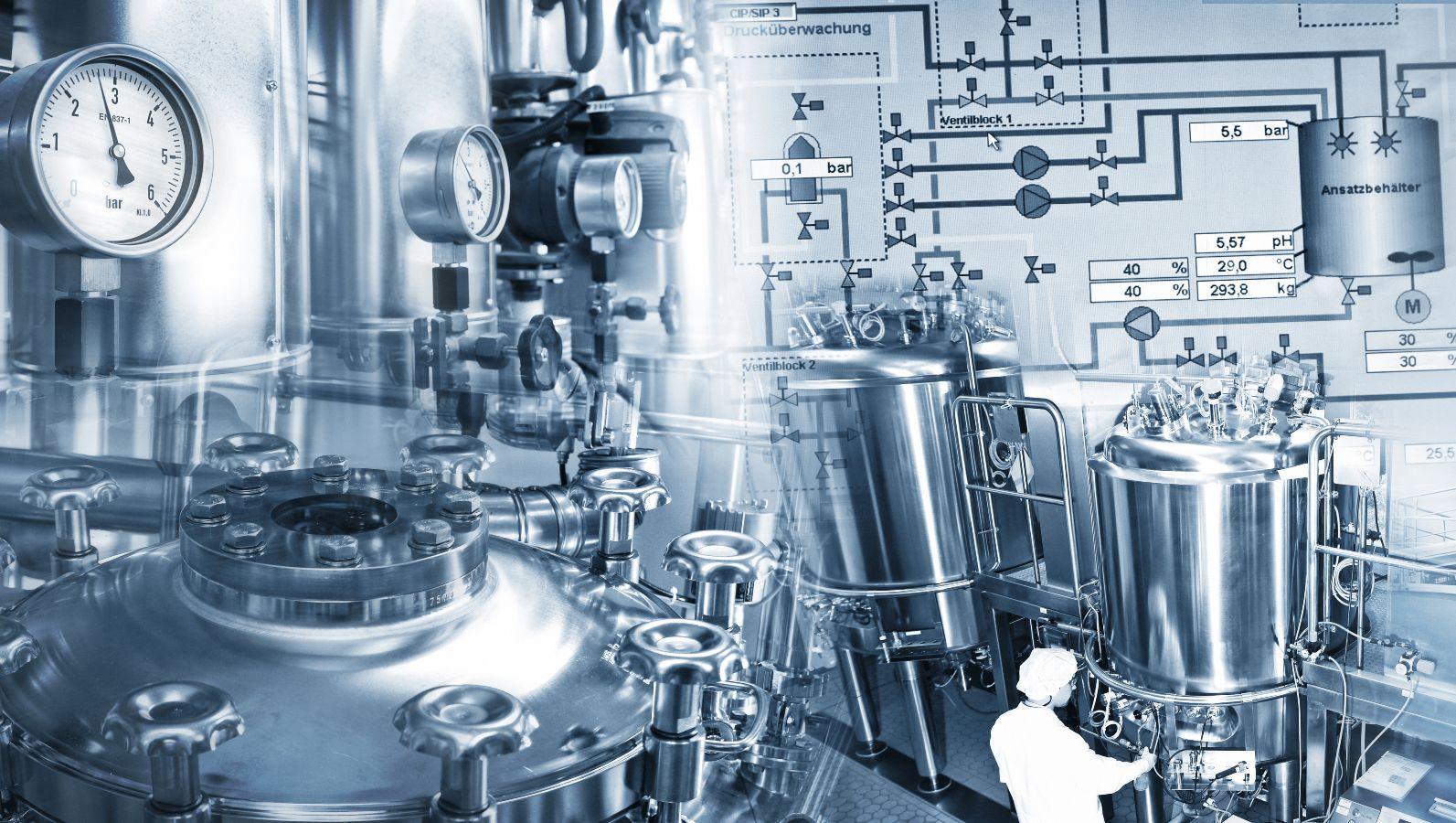 Zusammenschnitt: Chemieanlage, chemisches Labor mit diversen Laborgeräten in schwarz-weiß