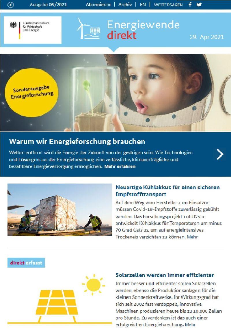 Titelblatt Newsletter Energiewende direkt Sonderausgabe Energieforschung