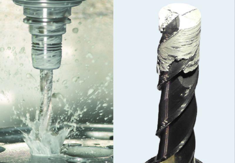 Ein Fräswerkzeug bei der Nassbearbeitung von Aluminium (links). Nach der Bearbeitung sind die Nuten des Werkzeuges durch Aluminiumaufschmierung zugesetzt (rechts)
