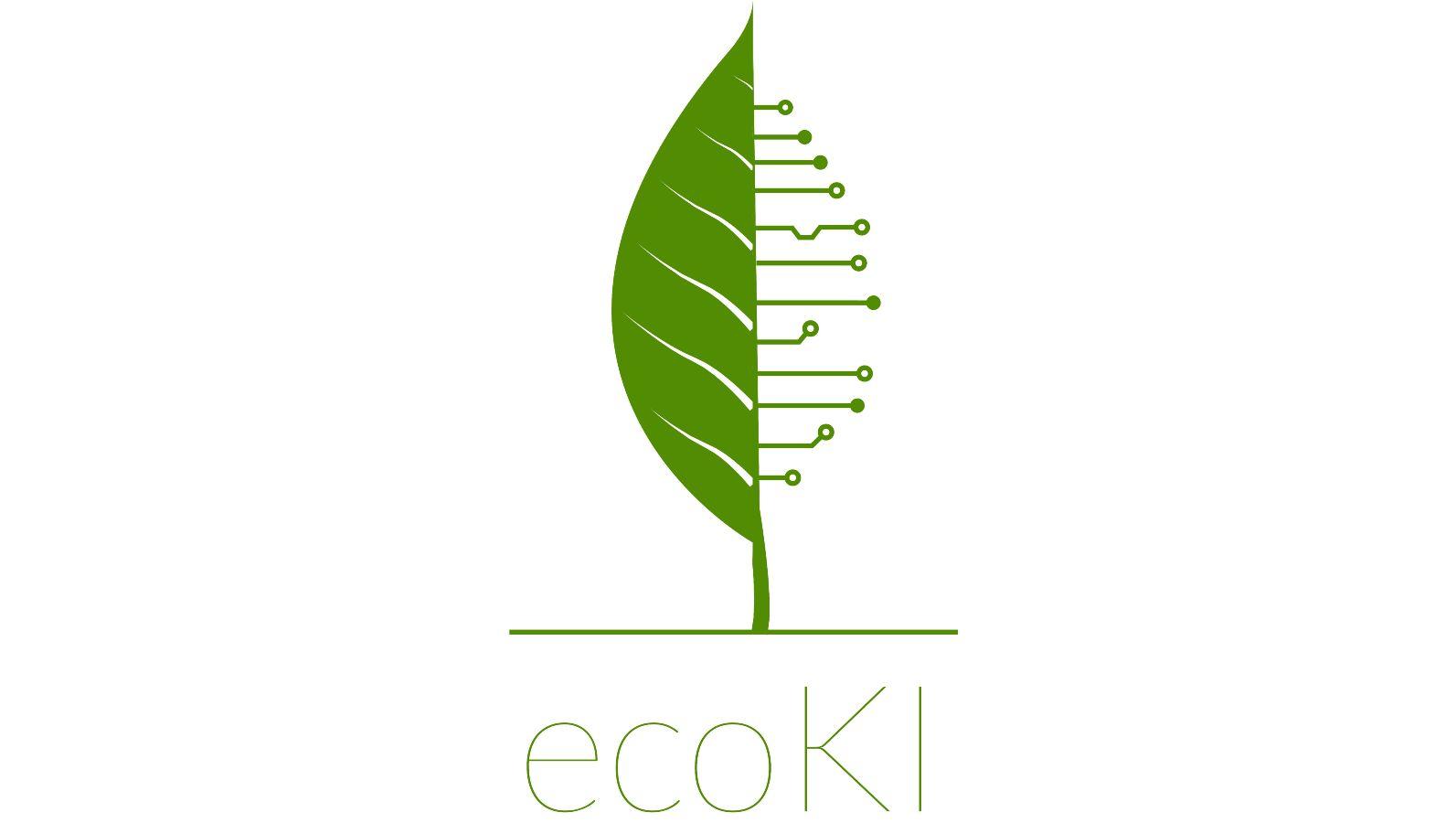Logo von ecoKI: hellgrünes Bäumchen und Symbole der Datenvernetzung auf weißem Hintergrund