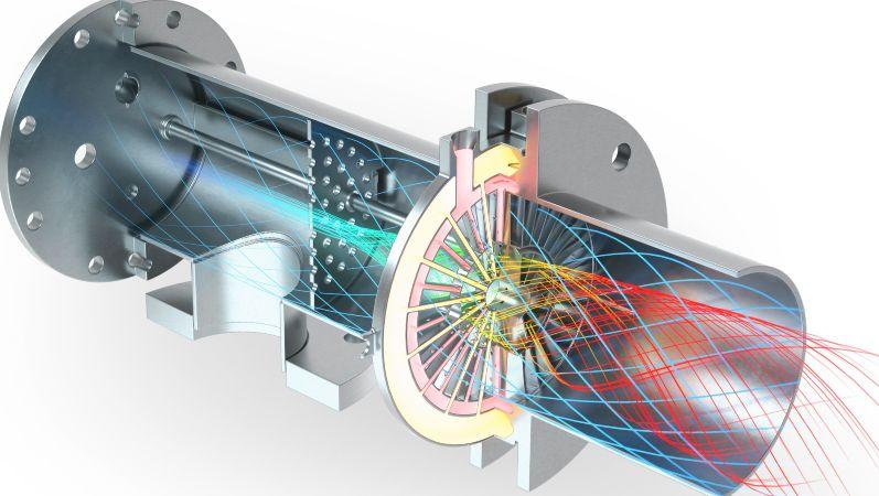 Schematische Zeichnung, wie die Mischvorrichtung Brenngas und Sauerstoff durchmischt.