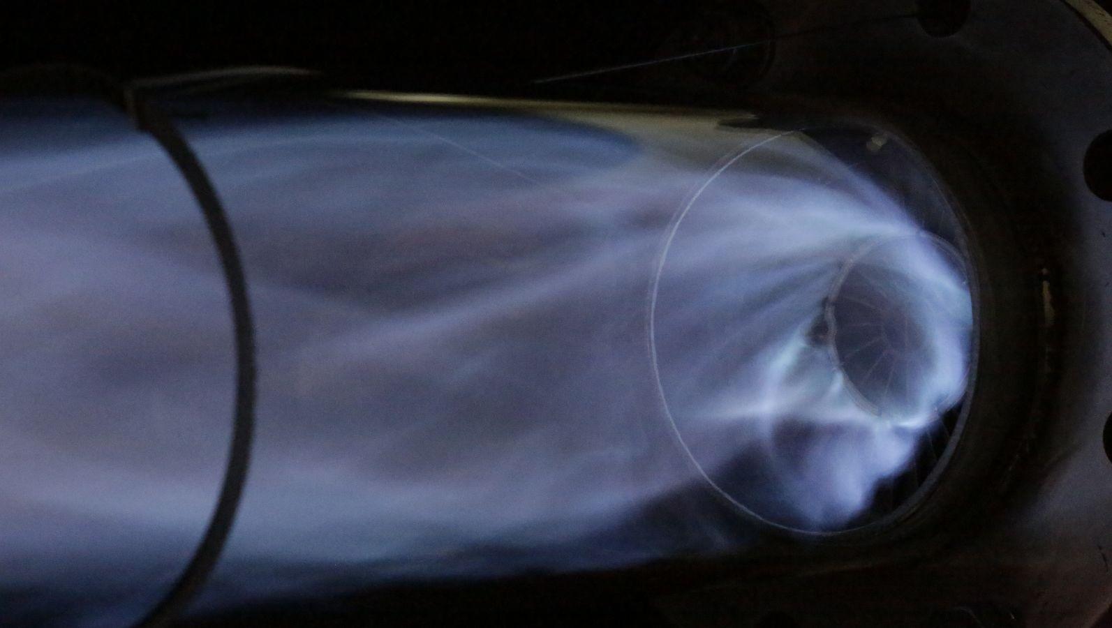 Die Mischvorrichtung vermischt sichtbar Gase.