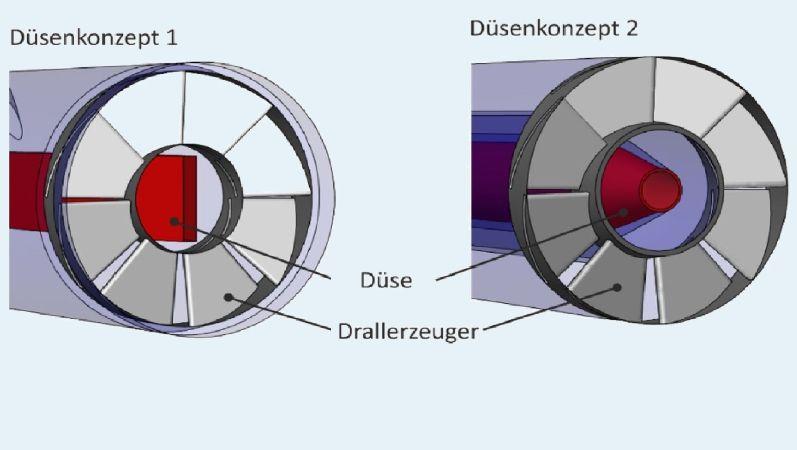 Eine schematische Darstellung der Brenner-Düsen für BrEEGa ist zu sehen.