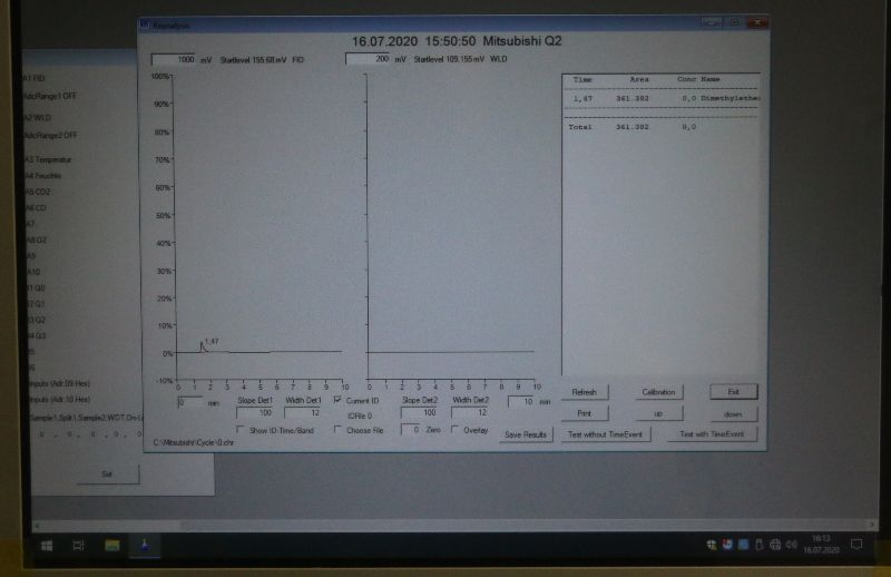 Analyse des ersten produzierten DME