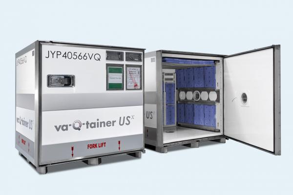 Luftfrachtcontainer mit Kühlakkus aus Phasenwechselmaterial